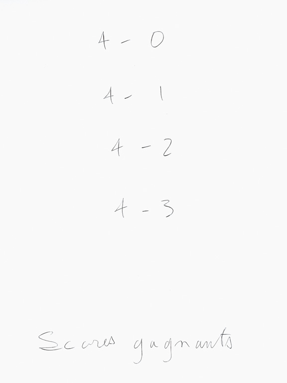 Claude Closky, 'Scores gagnants [Winning scores]', 1998, black ballpoint pen on paper, 35 x 514 cm (20 sheets 35 x 25,5 cm).